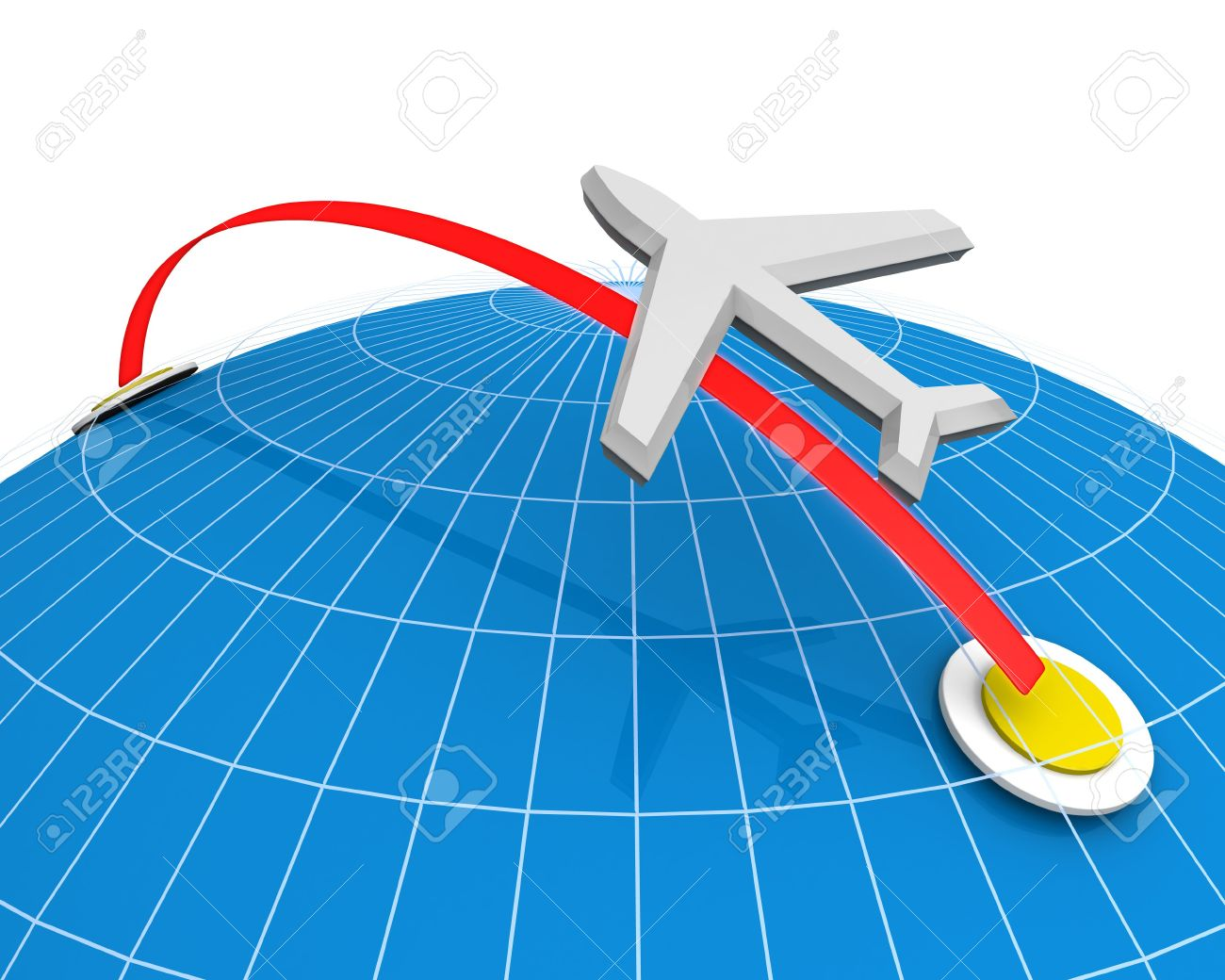 Traveling plane destination clipart vector free library Airplane Flying Destination Direction With Globe Background 3d ... vector free library