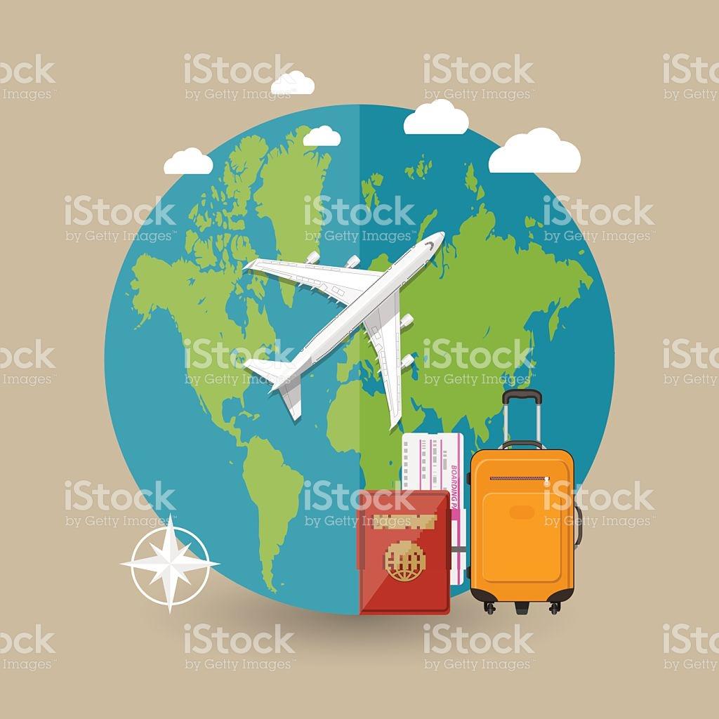 Traveling plane destination clipart jpg free Flying A Plane To Travel Destination stock vector art 547041596 ... jpg free