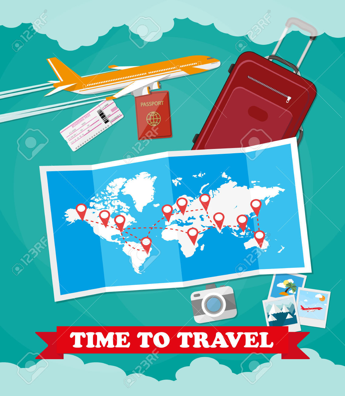 Traveling plane destination clipart image black and white stock Red Suitcase Travel Bag, Passport, Airplane Ticket, Photo Camera ... image black and white stock