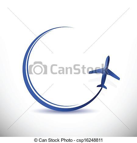 Traveling plane destination clipart vector black and white stock Vector Clip Art of plane travel destination concept illustration ... vector black and white stock