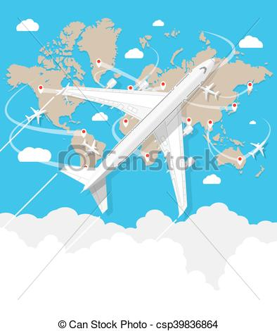 Traveling plane destination clipart svg royalty free library Clip Art Vector of flying a plane to travel destination - Travel ... svg royalty free library
