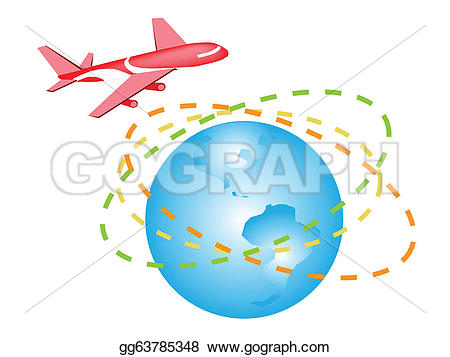 Traveling plane destination clipart banner Vector Art - An illustration of a plane flying around the world ... banner