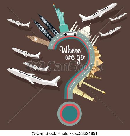 Traveling plane destination clipart vector stock EPS Vectors of where to we go traveling places plane question mark ... vector stock
