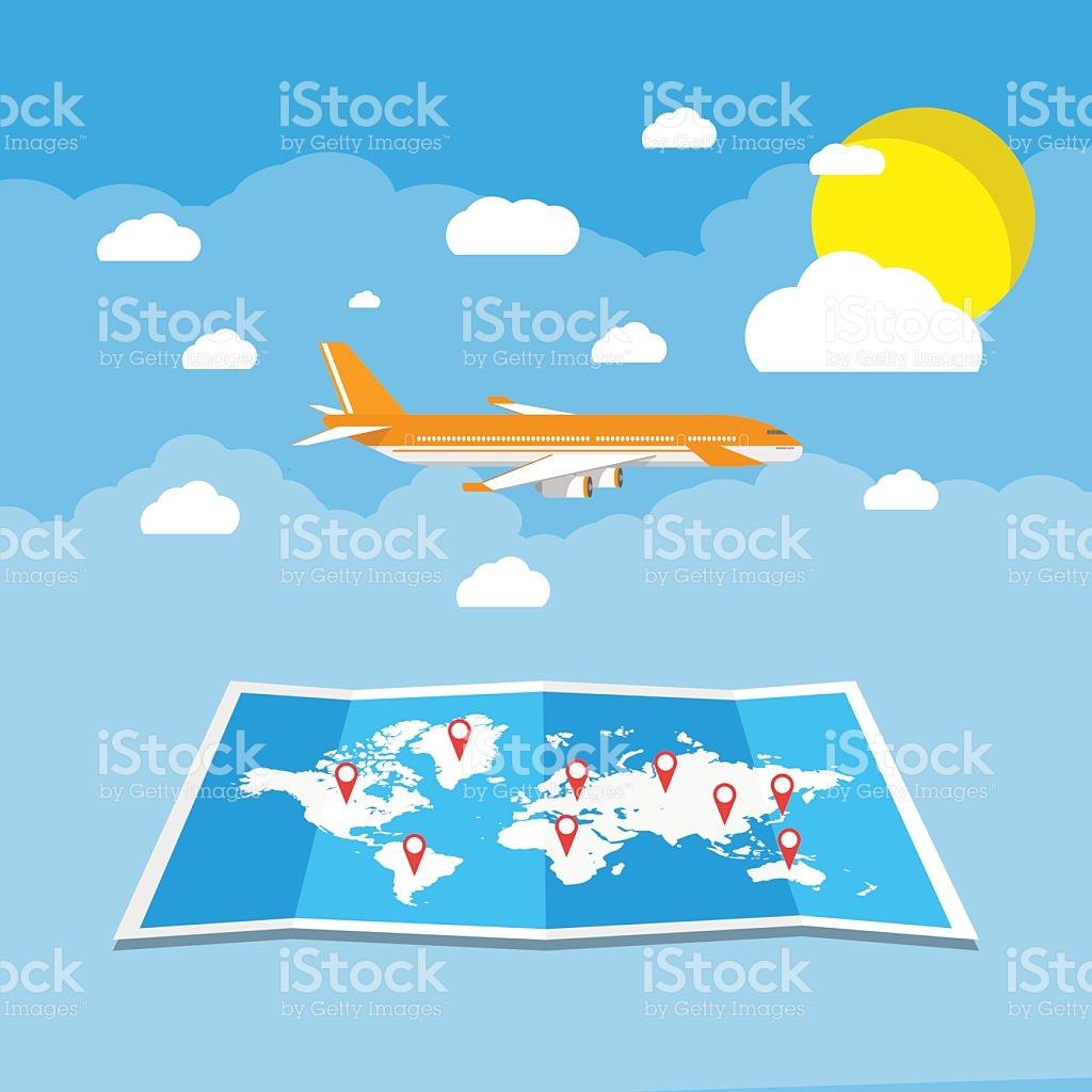 Traveling plane destination clipart clip art library download Flying A Plane To Travel Destination stock vector art 517967558 ... clip art library download