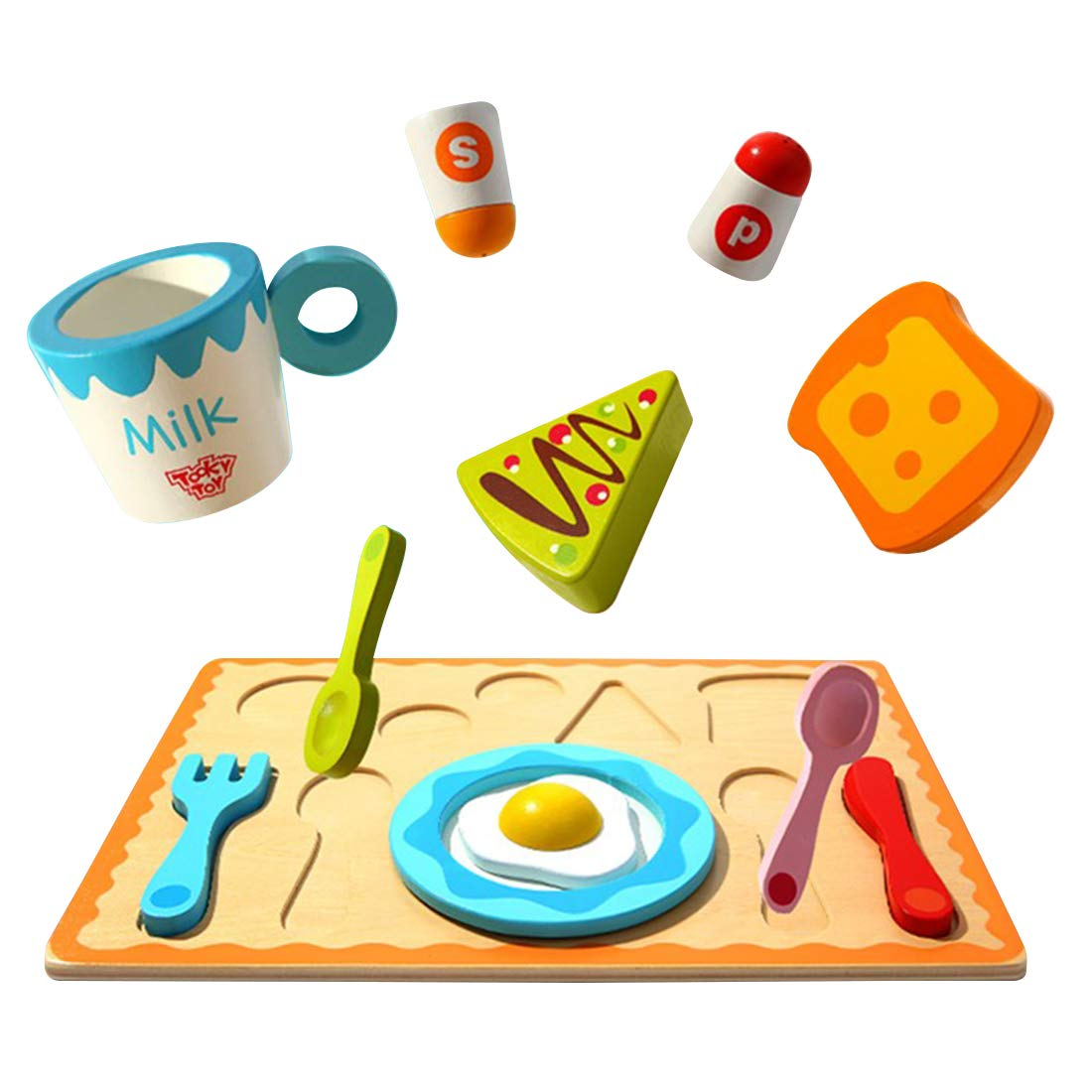 Tray of food wooden clipart clip free download Amazon.com: WEYFLY Childrens Wooden Play Food Set, Breakfast ... clip free download