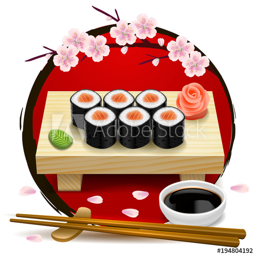 Tray of food wooden clipart png freeuse Sushi on wooden tray. Red symbol of Japan and sakura ... png freeuse
