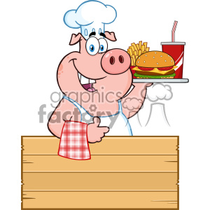 Tray of food wooden clipart vector royalty free download 10723 Royalty Free RF Clipart Chef Pig Cartoon Mascot Character Holding A  Tray Of Fast Food Over A Wooden Sign Giving A Thumb Up Vector Illustration  ... vector royalty free download