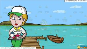 Tray of food wooden clipart png transparent download A Female Fast Food Worker Serving A Tray Of Order and A Long Wooden Dock On  A Lake Background png transparent download
