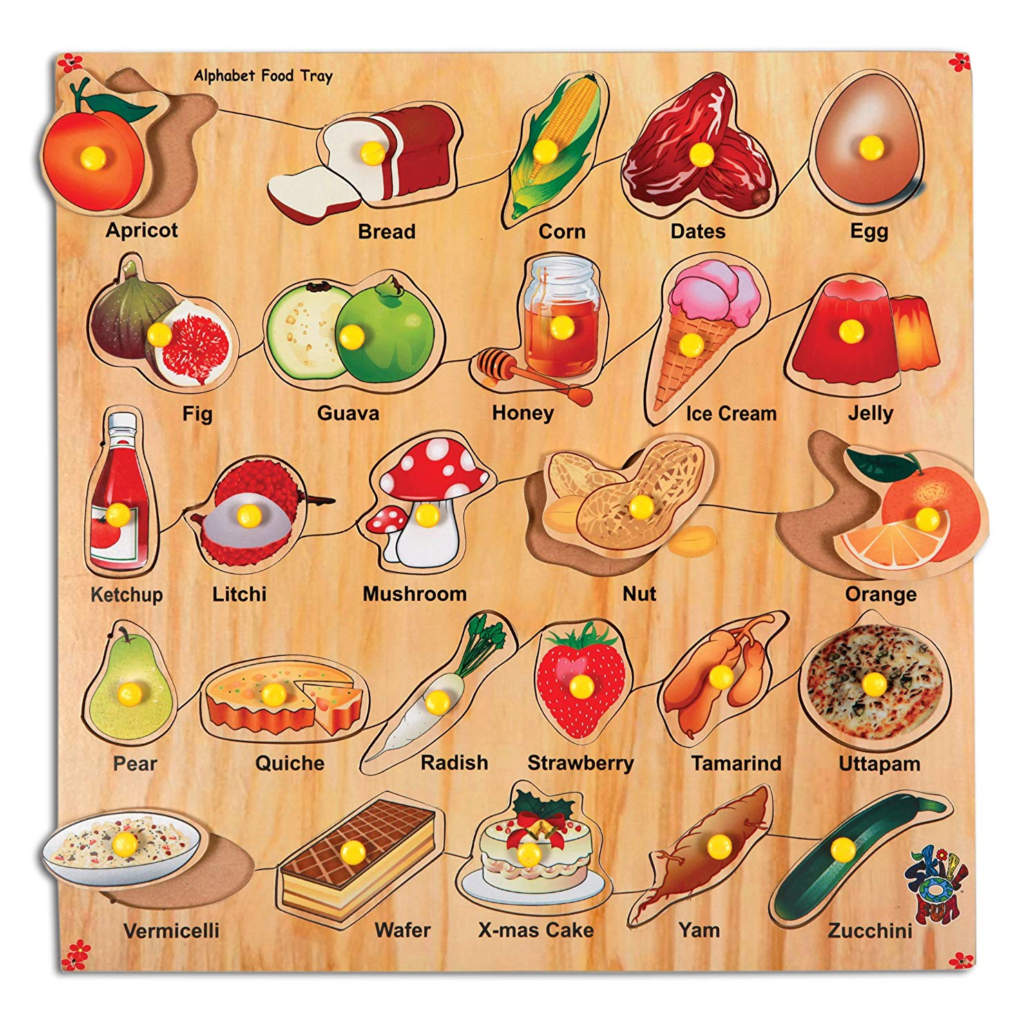 Tray of food wooden clipart clip art freeuse Skillofun Wooden Alphabet Food Tray with Knobs, Multi Color clip art freeuse