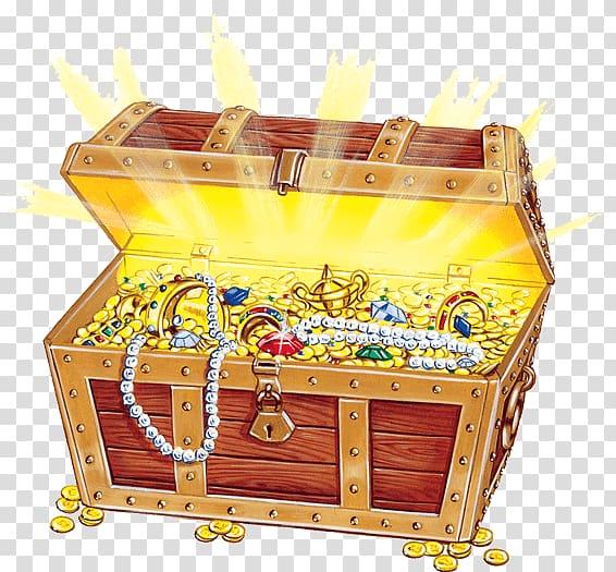Treasure box and treasure illustration, Open Treasure Chest ... graphic transparent download