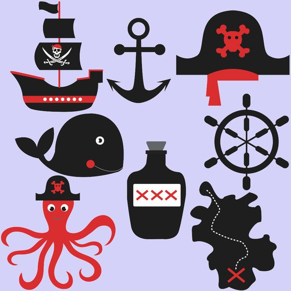 Treasury clipart vector black and white library Pirates clipart, pirate clip art, sailing ship, skull ... vector black and white library