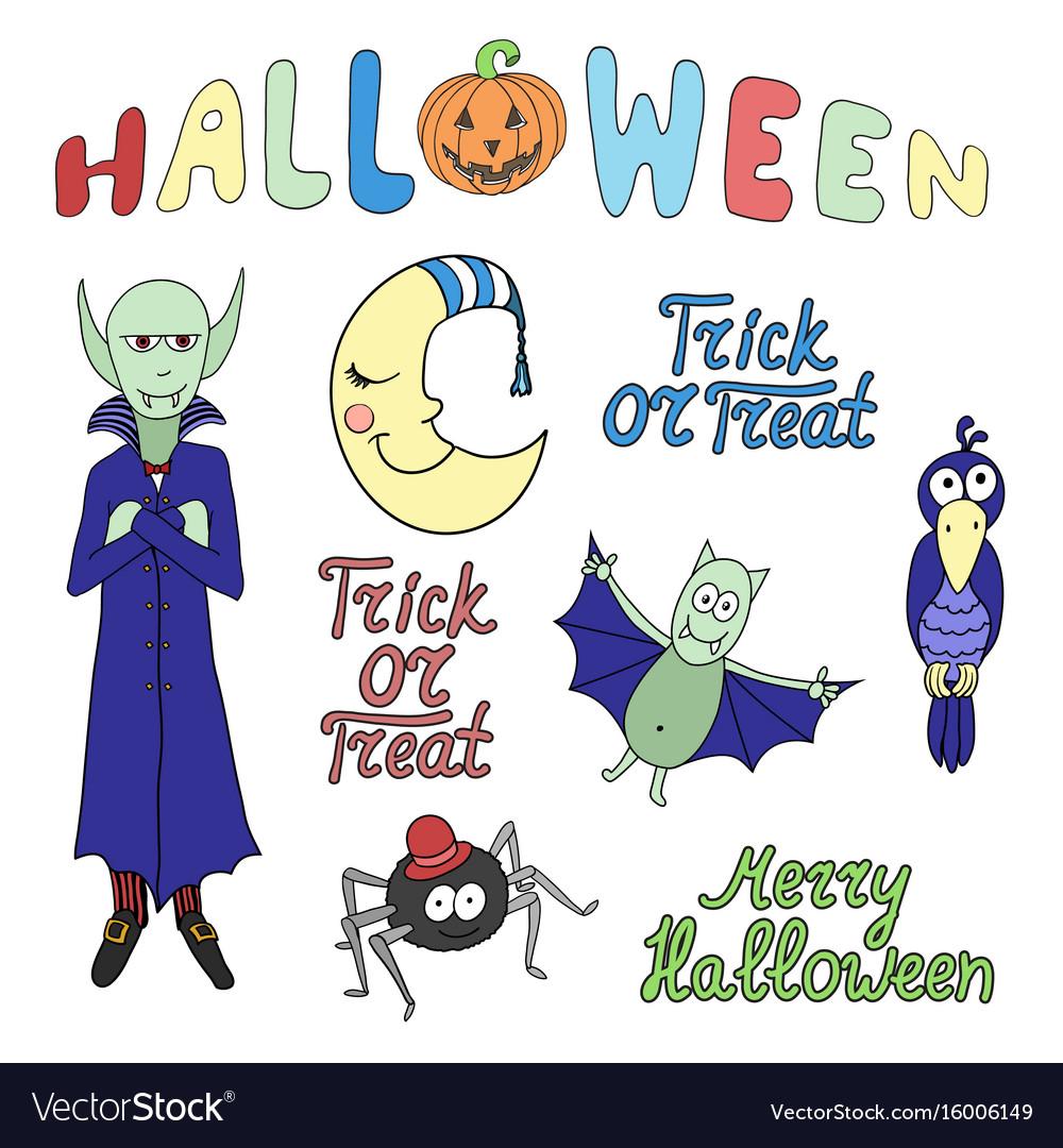 Set of cartoon halloween characters and words jpg freeuse stock
