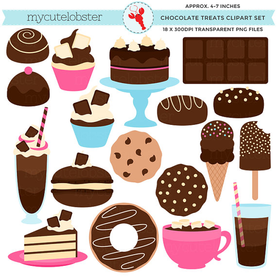 Treats images clipart png black and white stock Chocolate Treats Clipart Set - cake, candy, ice cream ... png black and white stock
