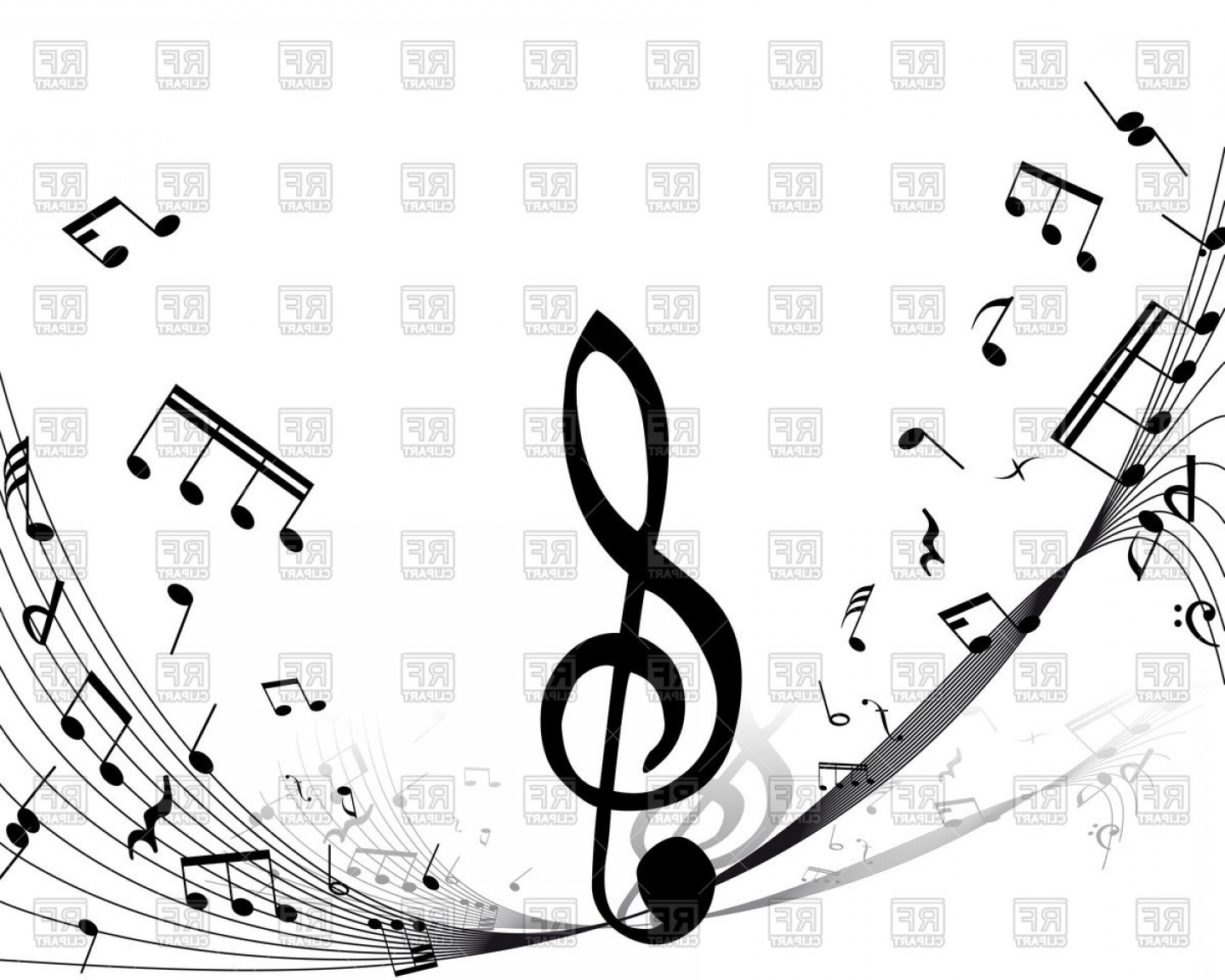 Treble clef clipart vector svg free library Musical Notes Staff Background With Treble Clef Vector ... svg free library