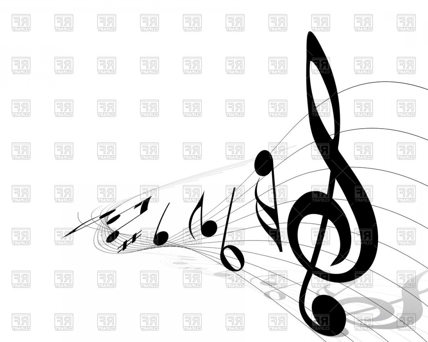 Treble clef clipart vector clipart freeuse stock Treble Clef With Musical Notes Vector Clipart | SOIDERGI clipart freeuse stock