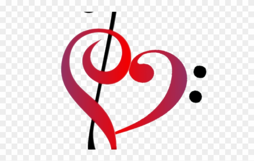 Love Clipart Music - Treble Clef Bass Clef Heart - Png ... jpg freeuse stock