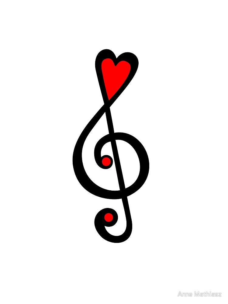 MUSIC CLEF HEART, Love, Music, Treble Clef, Classic | Canvas Print svg transparent stock