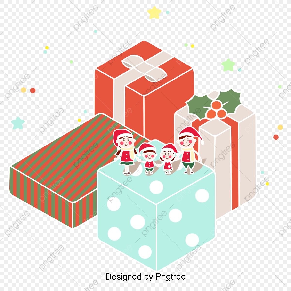 Christmas Gifts Theme Characters Red Green Han Wind Hand ... image black and white download