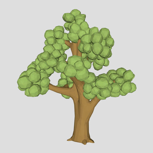 Low poly Elm tree 3d model for game or cartoon | 3D model banner freeuse download