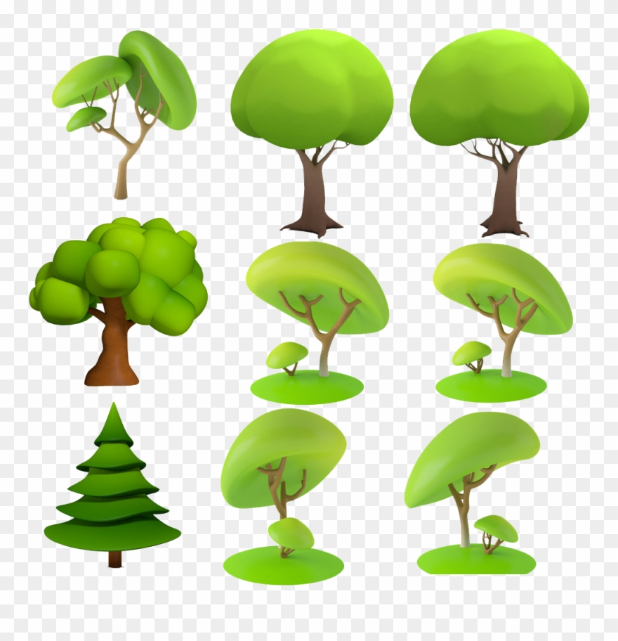 Dimensional Space Animation Tree Cartoon D Trees - 3d Model ... picture library stock