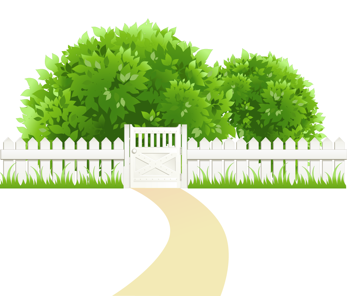 Tree and grass clipart free library Path with Fence and Trees Transparent PNG Clipart | Gallery ... free library