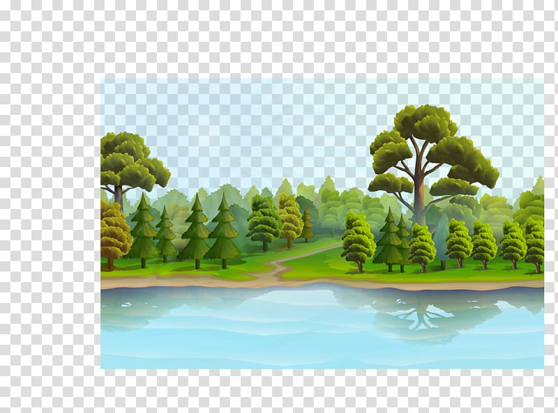 Tree beside water clipart black and white freeuse library Sun rays shining on forest beside body of water illustration ... freeuse library
