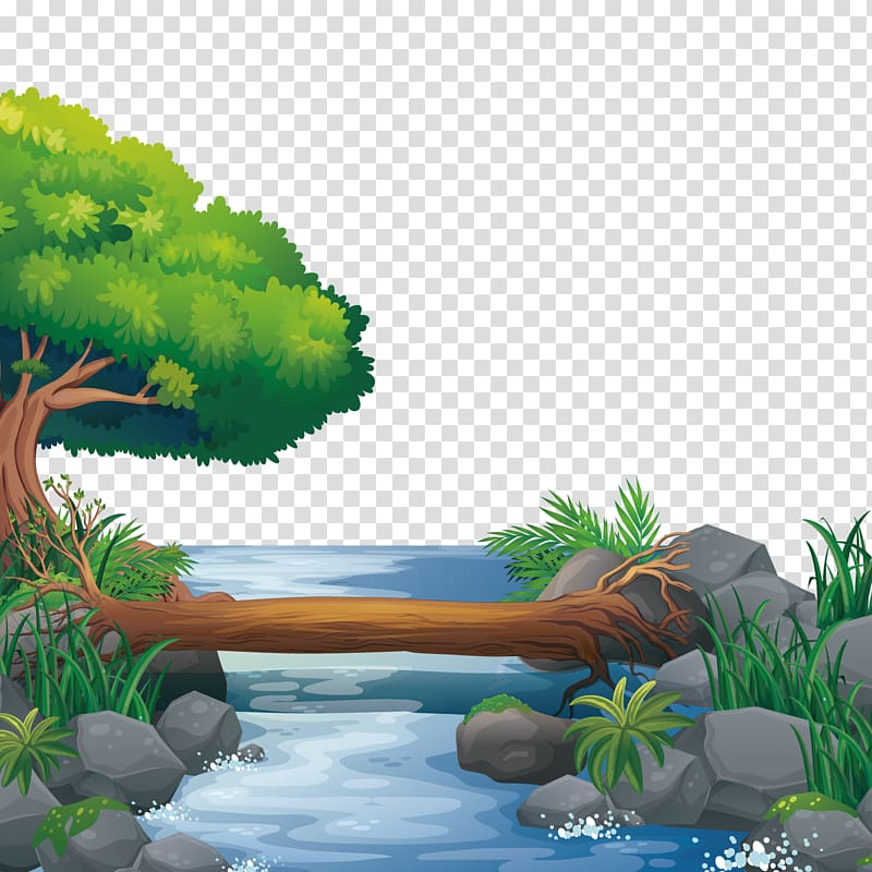 Tree beside water clipart black and white svg transparent download Tree trunk over river illustration, Nature Illustration ... svg transparent download
