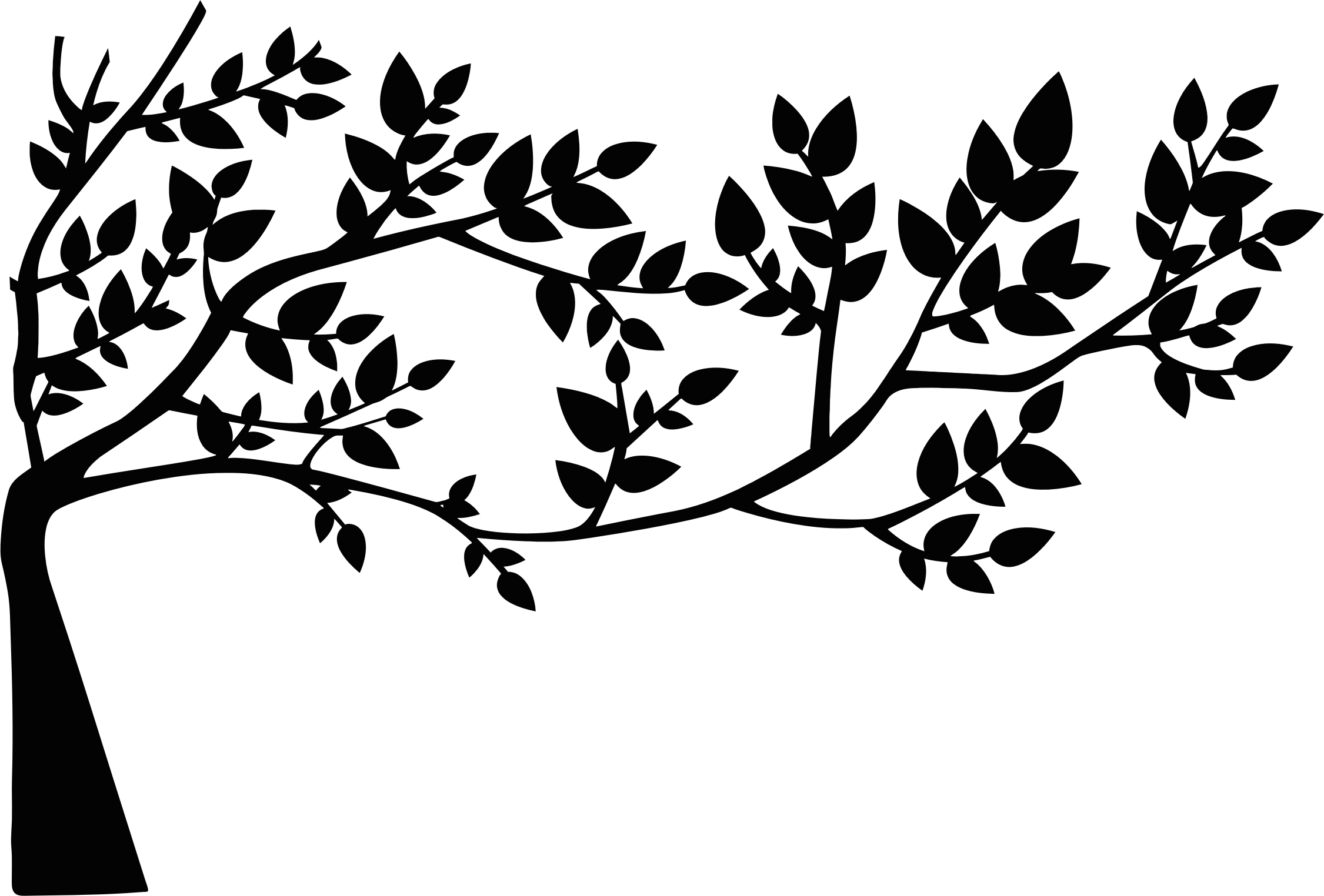 Clipart - Tree And Leaves Silhouette clip library stock