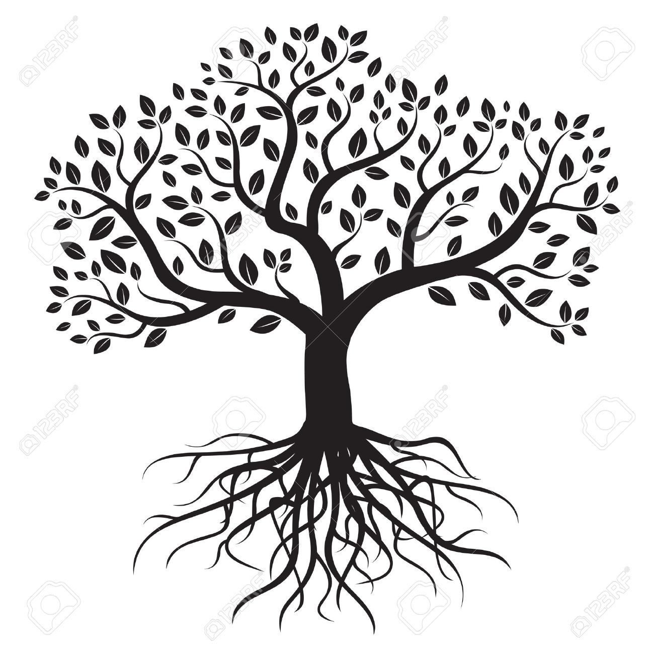 Tree clipart black and white with roots jpg royalty free library Black and white tree with roots clipart 4 » Clipart Portal jpg royalty free library