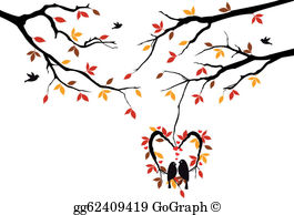Tree clipart with hearts graphic royalty free library Vector Clipart - Cat on a tree with birds, vector. Vector ... graphic royalty free library