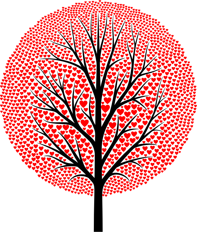 Tree clipart with hearts black and white download Clipart - Red Hearts Tree black and white download