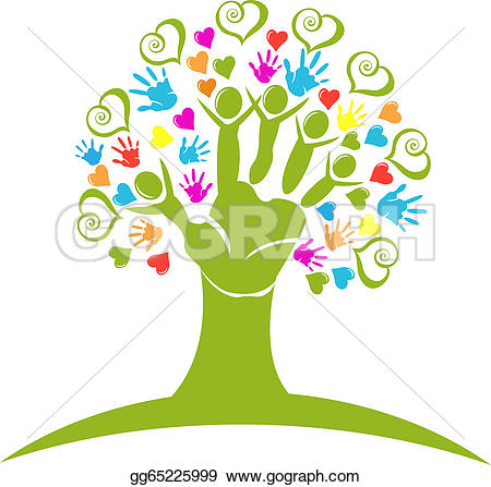 Tree clipart with hearts clip art royalty free library Vector Illustration - Tree hands and hearts figures logo. Stock ... clip art royalty free library
