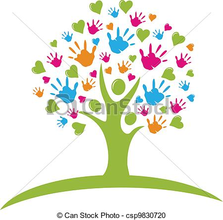Tree clipart with hearts clipart download Vector Clipart of Tree with hands and hearts figures logo vector ... clipart download