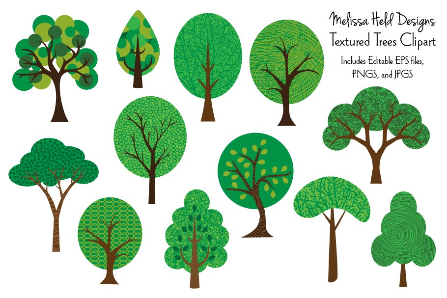Tree illustrations clipart vector library library Textured Trees Clipart vector library library