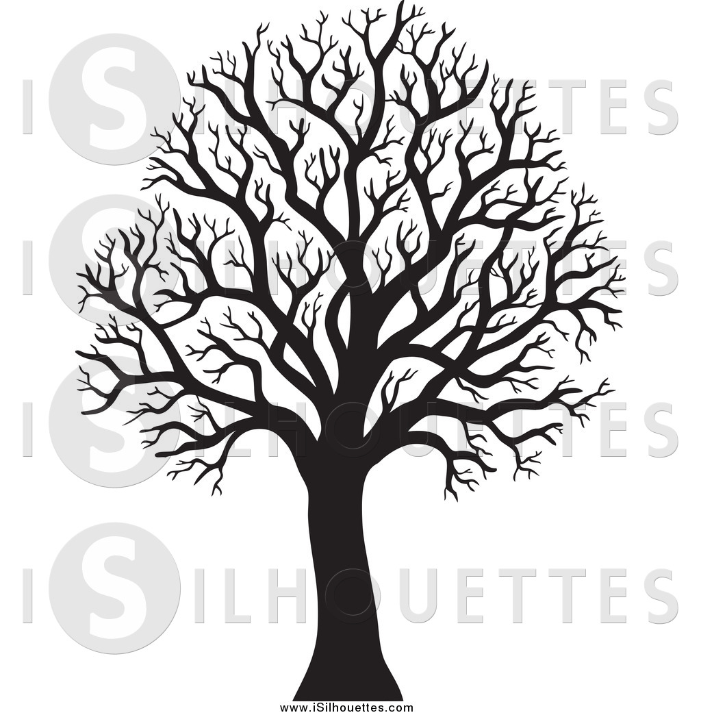 Tree in winter clipart silhouette freeuse download Clipart of a Silhouetted Black Bare Winter Tree by visekart ... freeuse download