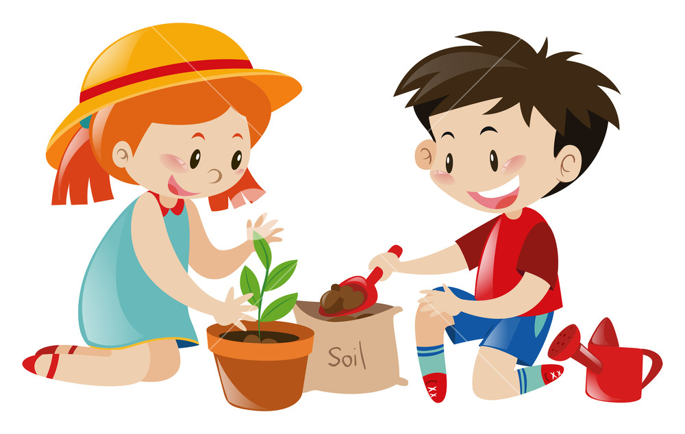 Tree its a boy clipart free Boy and girl planting tree illustration Royalty-Free Stock ... free