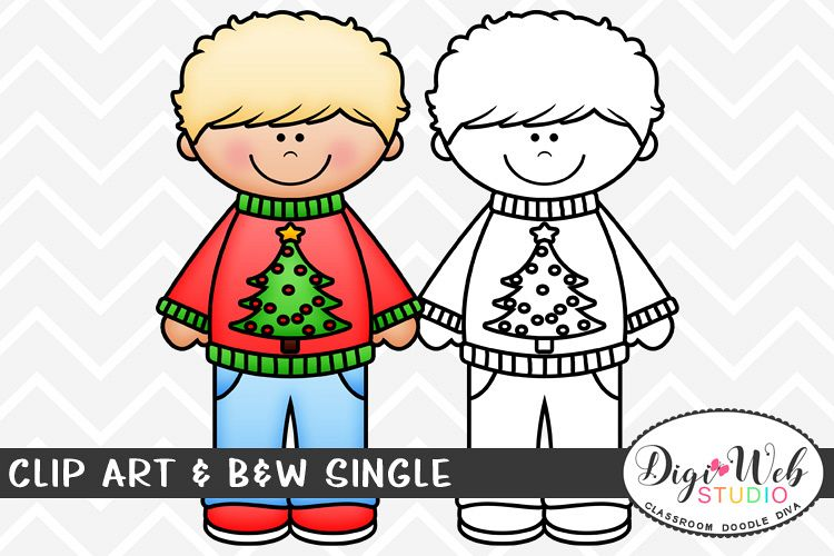 Tree its a boy clipart black and white library Clip Art & B&W Single - Boy w Tree Ugly Christmas Sweater black and white library