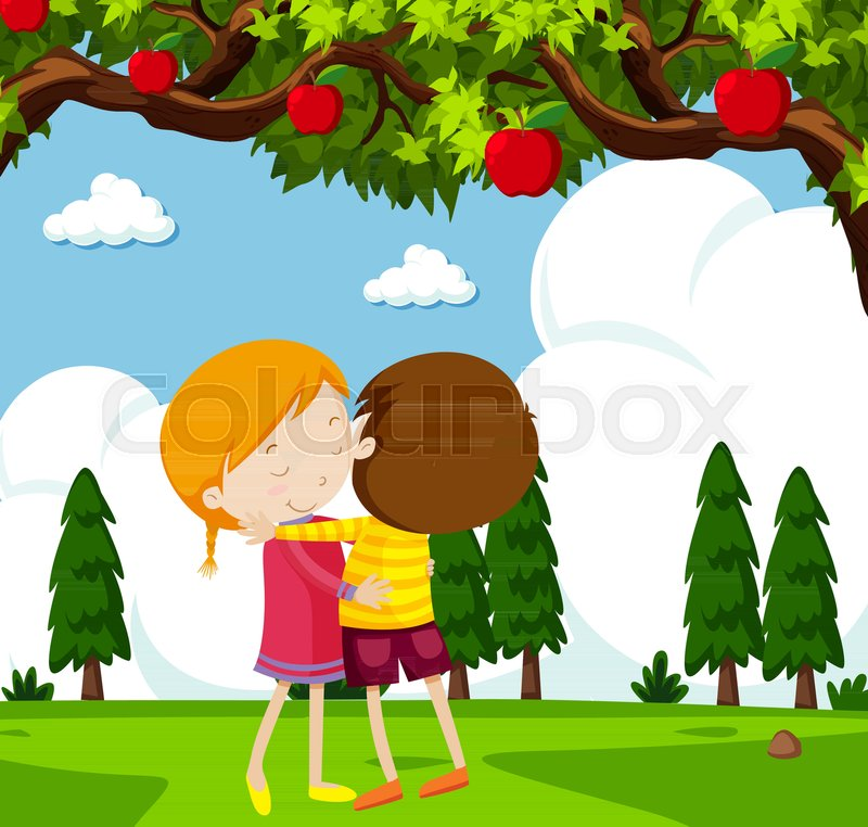 Tree its a boy clipart png black and white stock Boy and girl hugging under apple tree ... | Stock vector ... png black and white stock