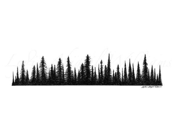 Tree line images clipart image library stock 25+ Line Drawing Pine Tree Landscape Pictures and Ideas on ... image library stock