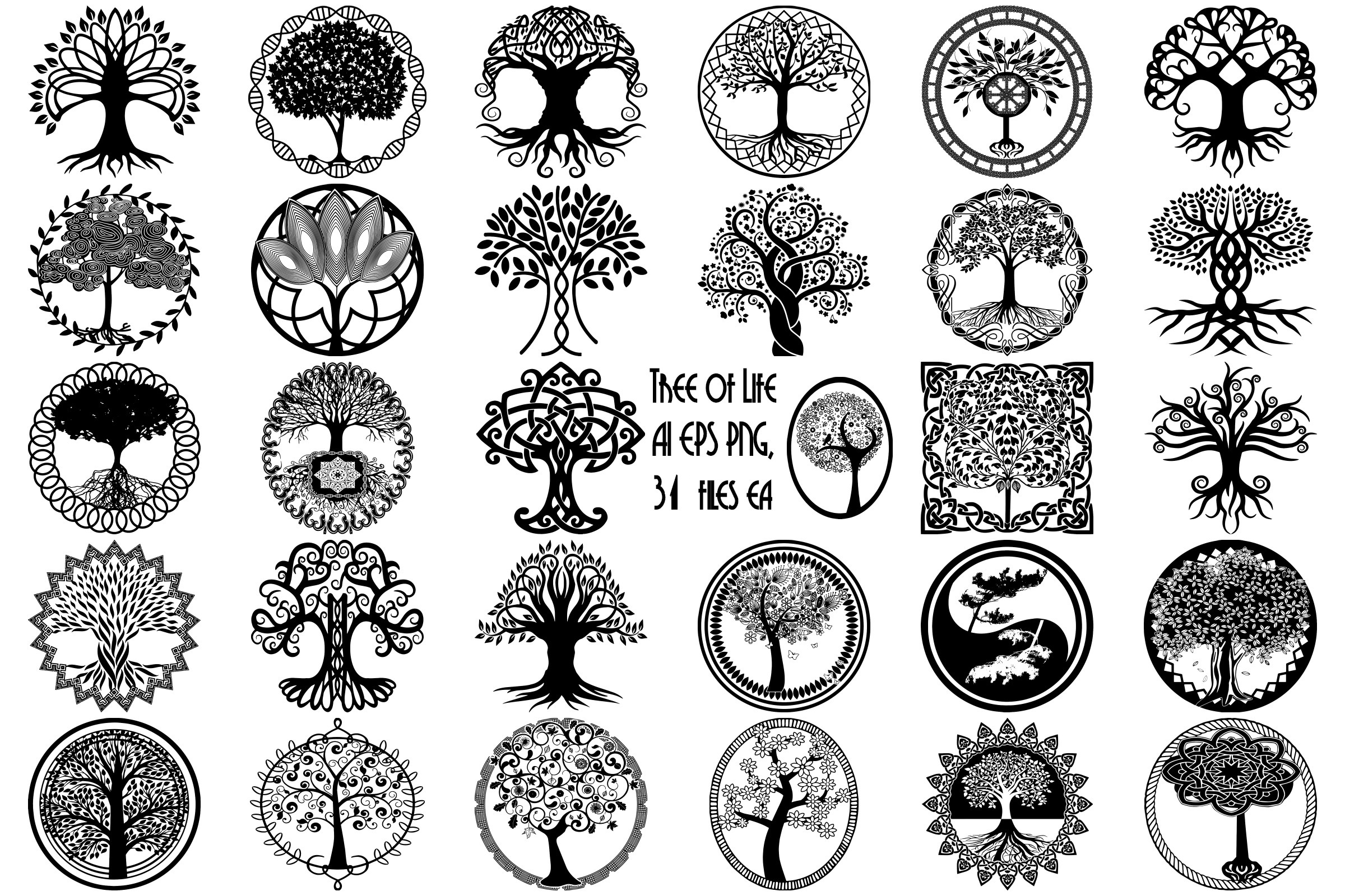 Tree of life silhouette clipart vector transparent download Tree of Life Silhouettes AI EPS Vector & PNG vector transparent download