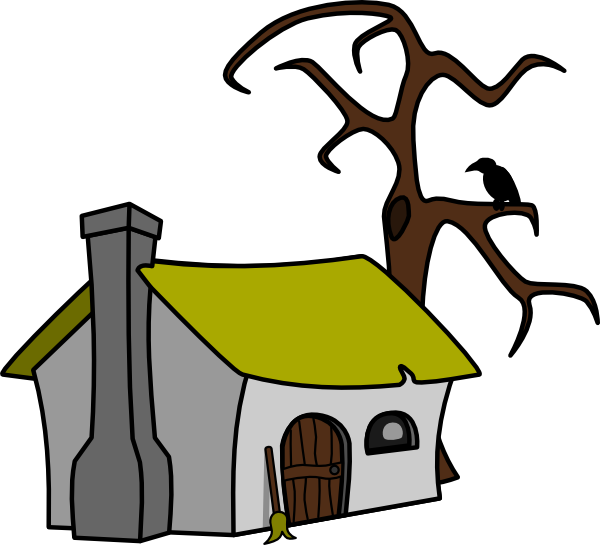 Tree on house clipart jpg library stock Witch Cottage Clip Art at Clker.com - vector clip art online ... jpg library stock