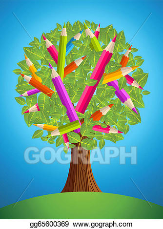 Vector Clipart - Cute pencil tree design. Vector ... image freeuse