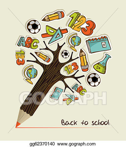 Vector Stock - Back to school pencil tree. Clipart ... clip royalty free