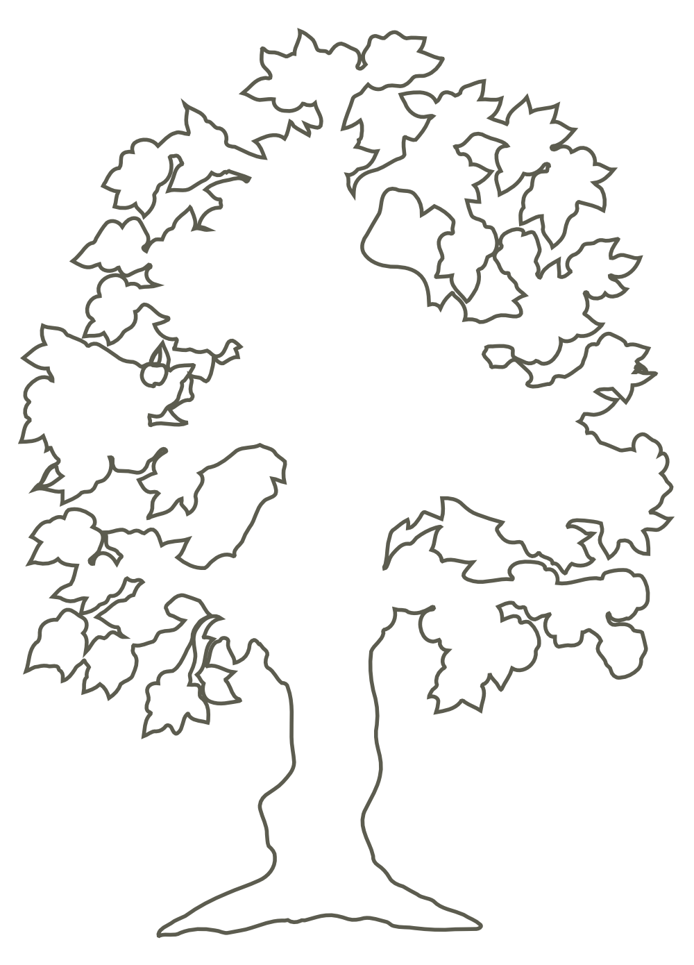 Tree stencil clipart vector black and white download OnlineLabels Clip Art - Simple Flowering Tree Outline vector black and white download