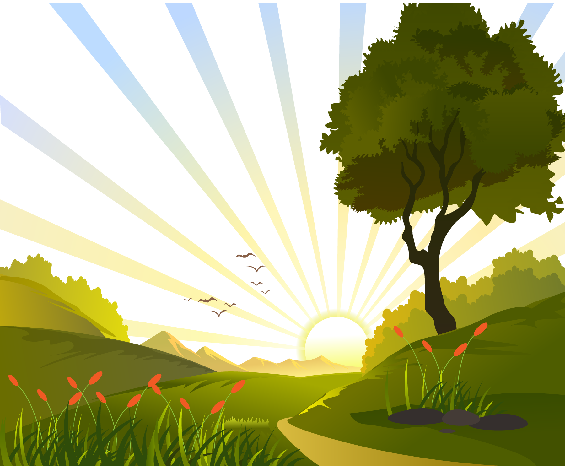 Tree sun grass landscape clipart png royalty free download Euclidean vector Clip art - Sunrise in the field vector illustration ... png royalty free download