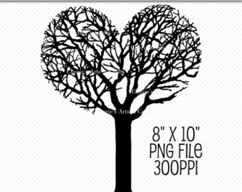 Tree with 8 hearts on it black and white clipart svg transparent library Heart shaped tree | Etsy svg transparent library