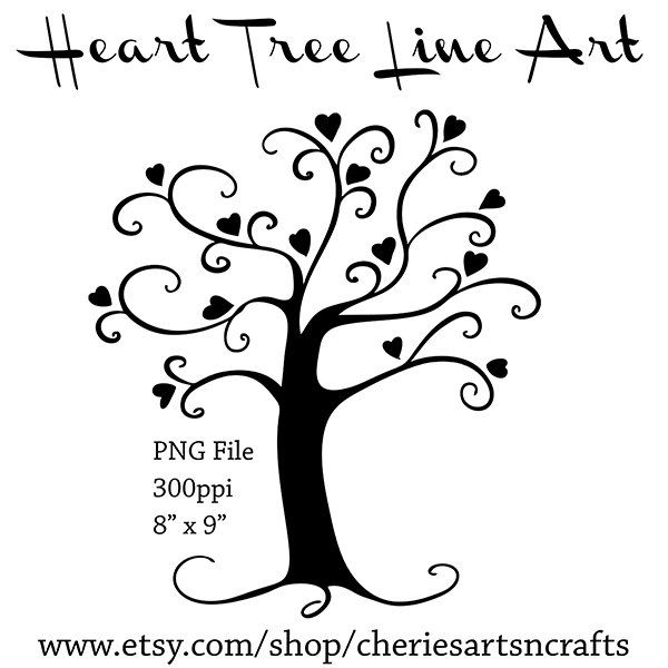 Tree with 8 hearts on it black and white clipart clipart library stock clipart tree of love black and white - Google Search | Weddings ... clipart library stock