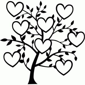 Tree with 8 hearts on it black and white clipart png freeuse library 17 Best images about Silhouette Cameo Hearts/Love/Marriage/Family ... png freeuse library