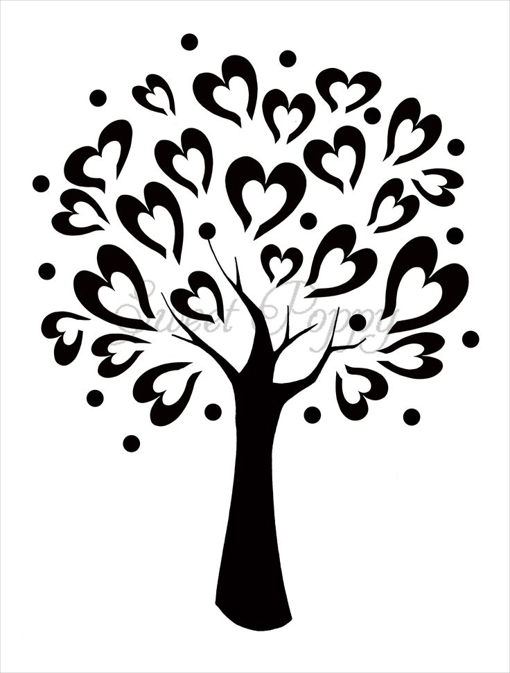 Tree with 8 hearts on it black and white clipart jpg Tree with 8 hearts on it black and white clipart - ClipartFest jpg