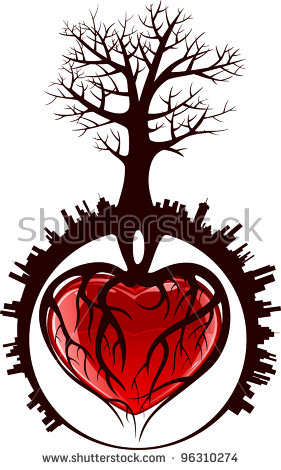 Tree with 8 hearts on it black and white clipart graphic transparent library Tree With Roots In The Form Of Heart In A City, Illustration ... graphic transparent library